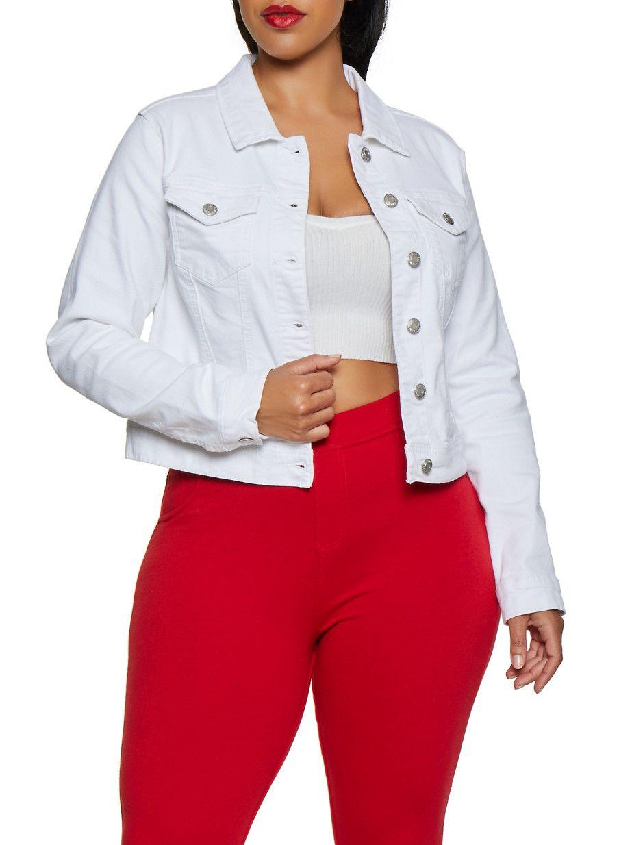 a9aec2701 Plus Size WAX Denim Jacket | 3876071610017 - White - Size 1X in 2019 ...