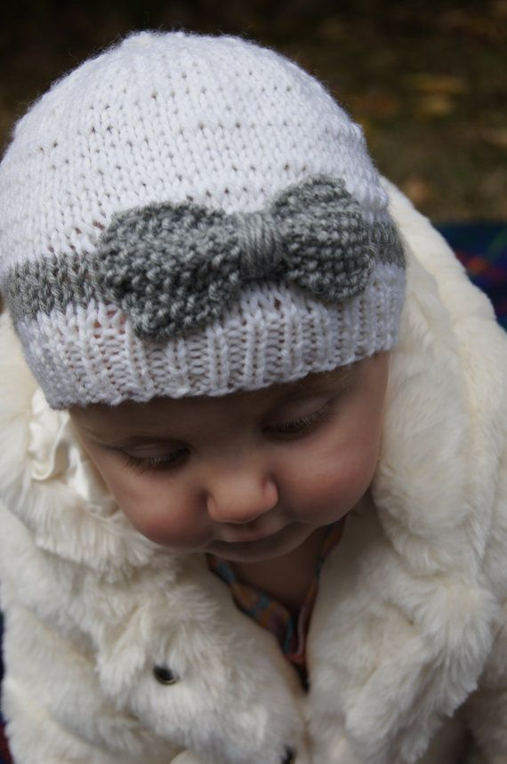 Hand Knit Baby Hat with Bow White and Grey Merino by norahsnook1 ...