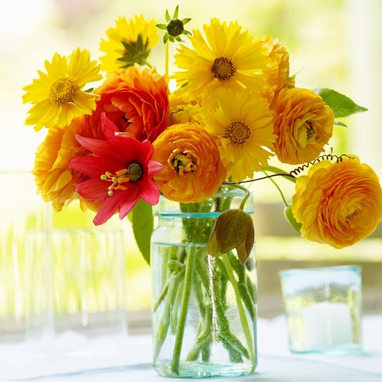 Interject bright, summery colors in your home with freshly picked flowers.