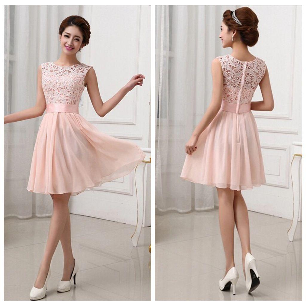 Short lace bridesmaid dresses custom pink bridesmaid dresses short
