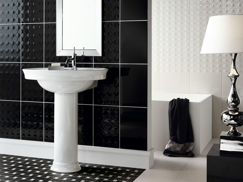 Beautiful Wall Tiles For Black And White Bathroom York By