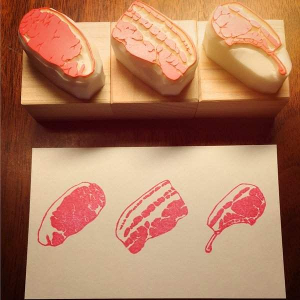 《肉的橡皮擦雕刻印章》對肉一定有莫大的愛才能這麼逼真啊 - 圖片9