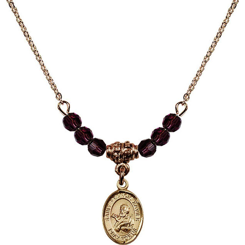 18-Inch Hamilton Gold Plated Necklace with 4mm Purple February Birth Month Stone Beads and Saint Francis Xavier Charm. 18-Inch Hamilton Gold Plated Necklace with 4mm Amethyst Birthstone Beads and Saint Francis Xavier Charm. Purple represents Amethyst, the Birthstone for February. Hand-Made in Rhode Island. Lifetime guarantee against tarnish and damage. Hamilton gold is a special alloy designed to have a rich and deep gold color.