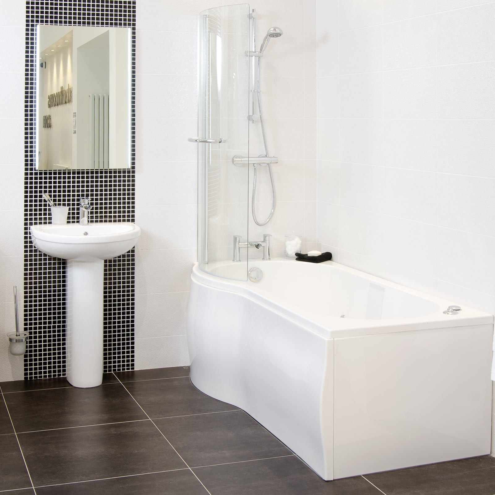 Capua Wall Tile - Black And White Bathroom Ideas - White Tiles ...