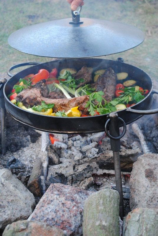 Camp Fire Skillet Frying Pan Pan With Flat By