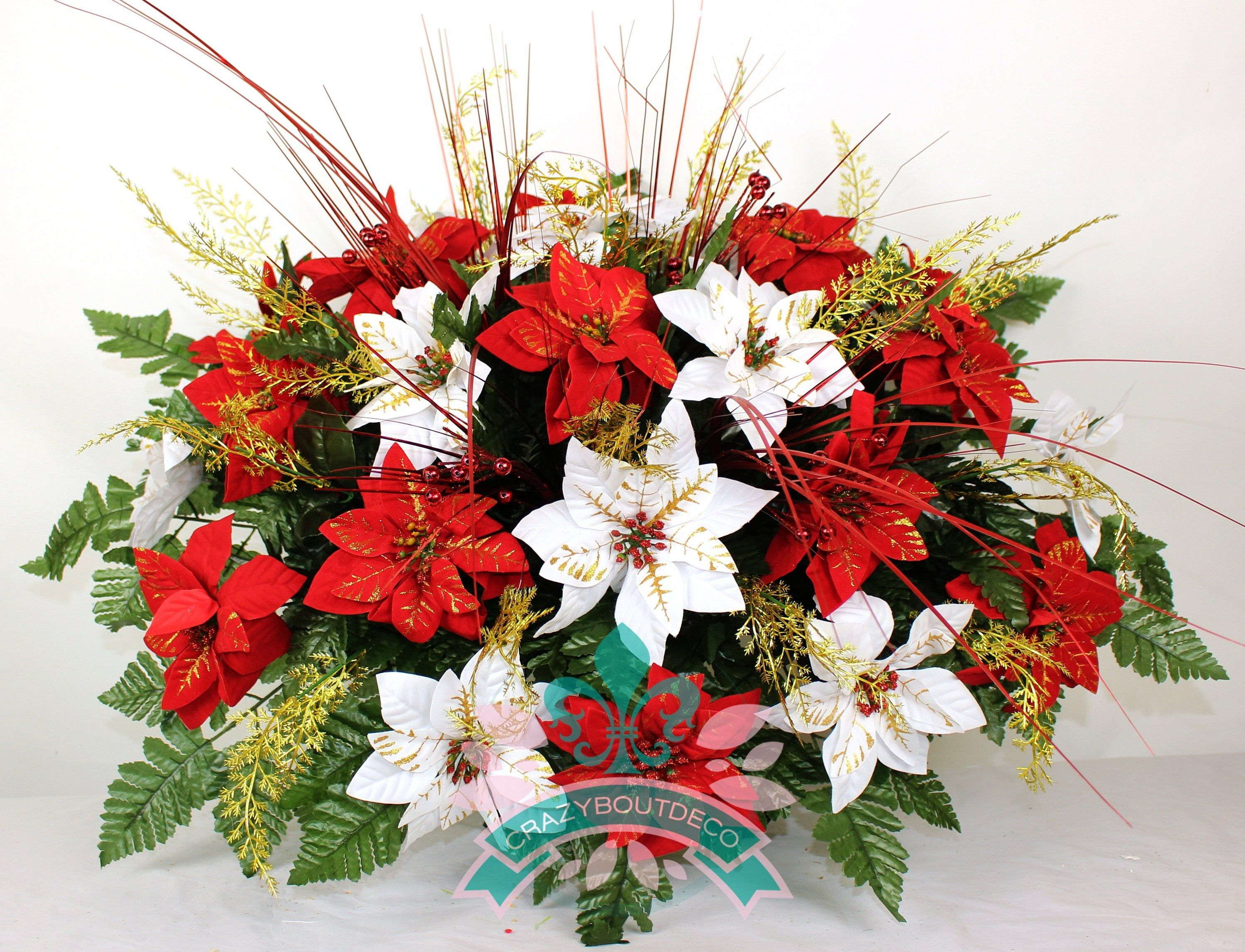 Xl Artificial Red And White Poinsettia S W Gold Sprays Cemetery Flower Headstone Saddle Grave Decoration Grave Decorations Cemetery Flowers Cemetery Decorations
