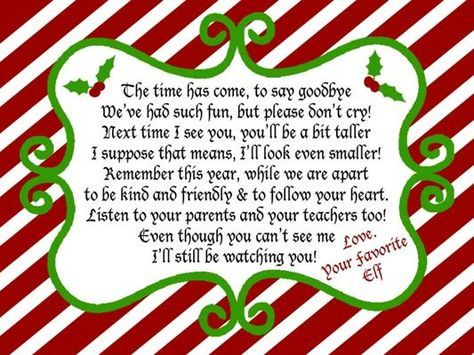 Elf On A Shelf Goodbye Note For  Christmaaaaaaas