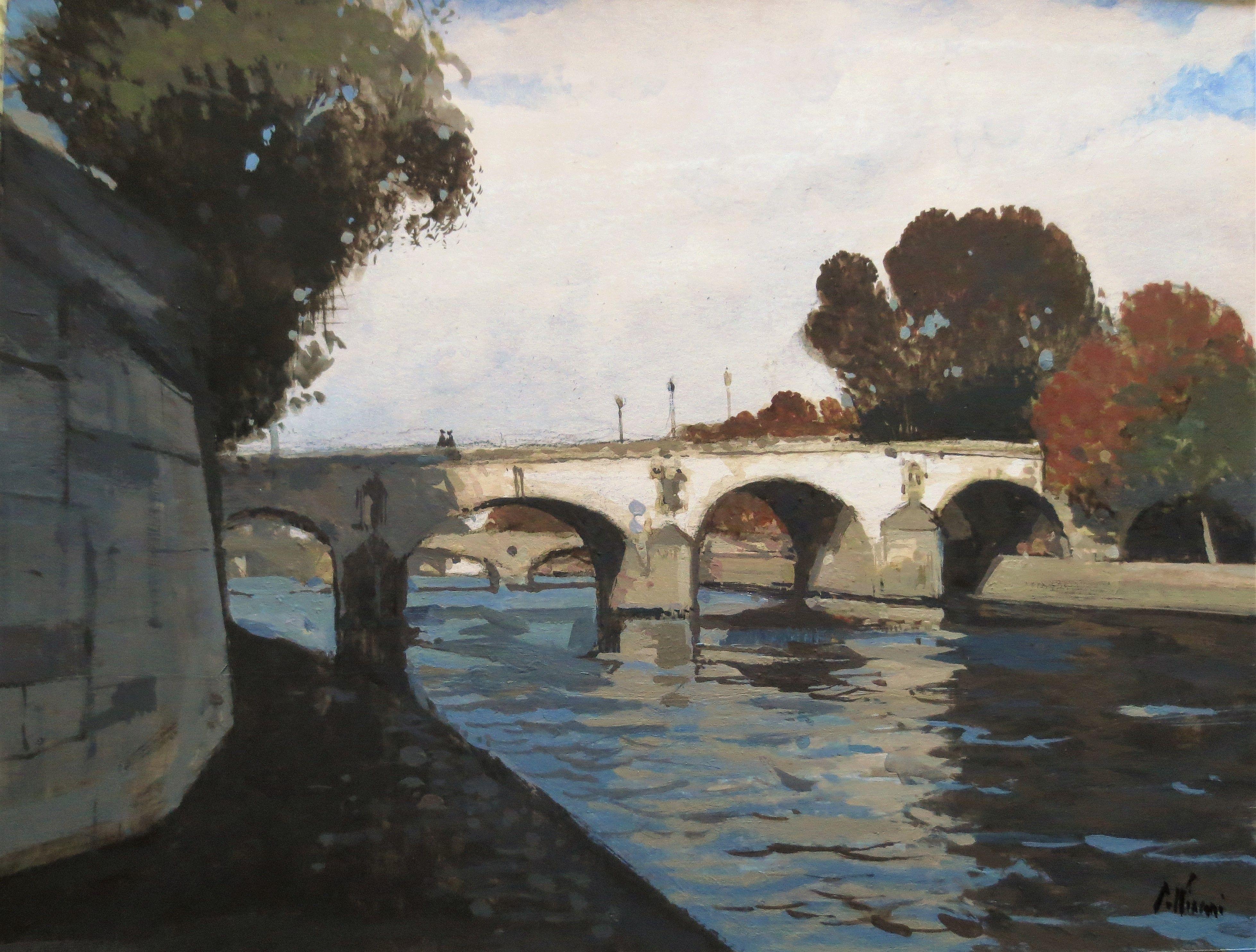 Pont Marie Aquarelle Crayon Gouache Et Acrylique 25x34 Cms En