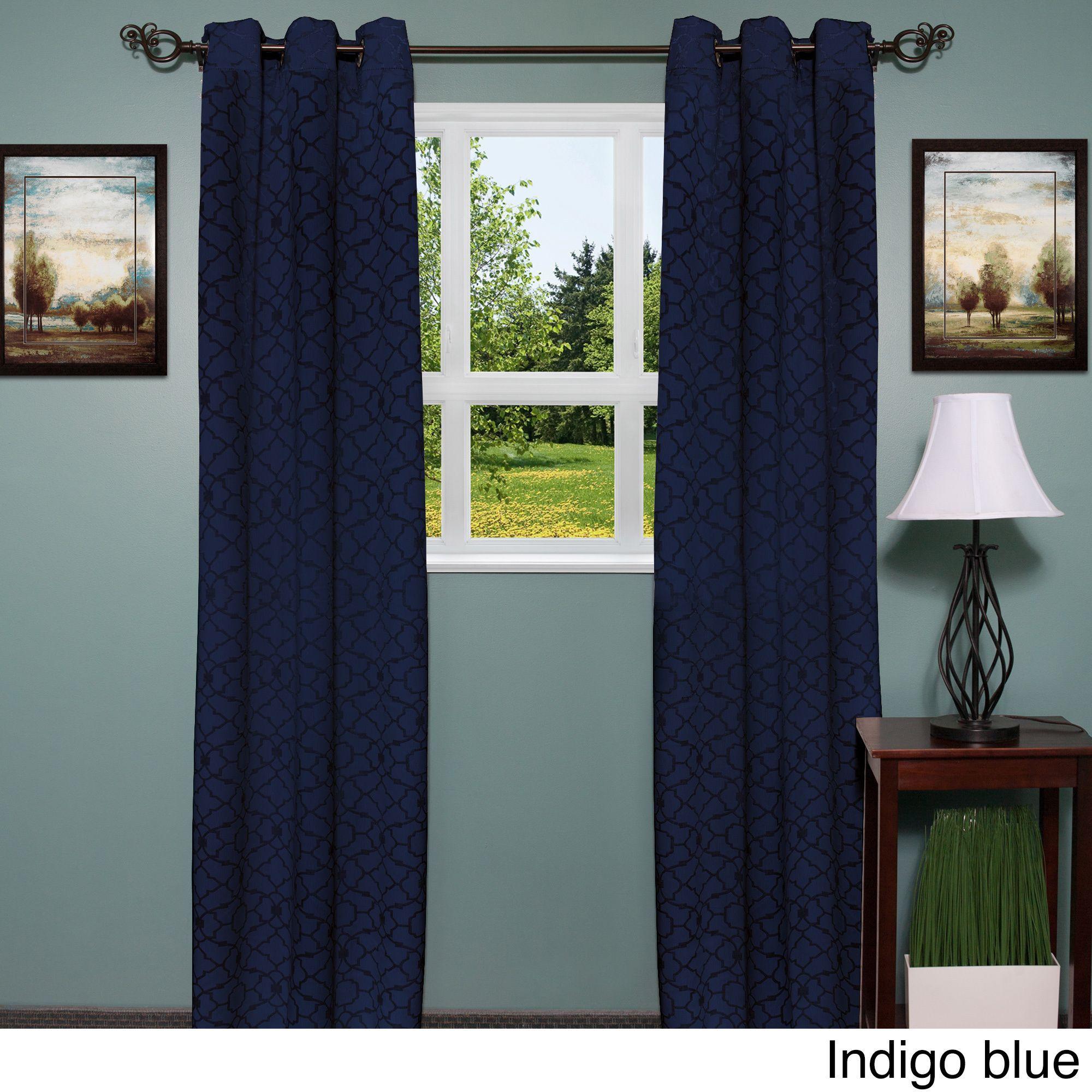 Luxury Grommet MidWeight Jacquard Curtain Panel Pair Indigo Blue