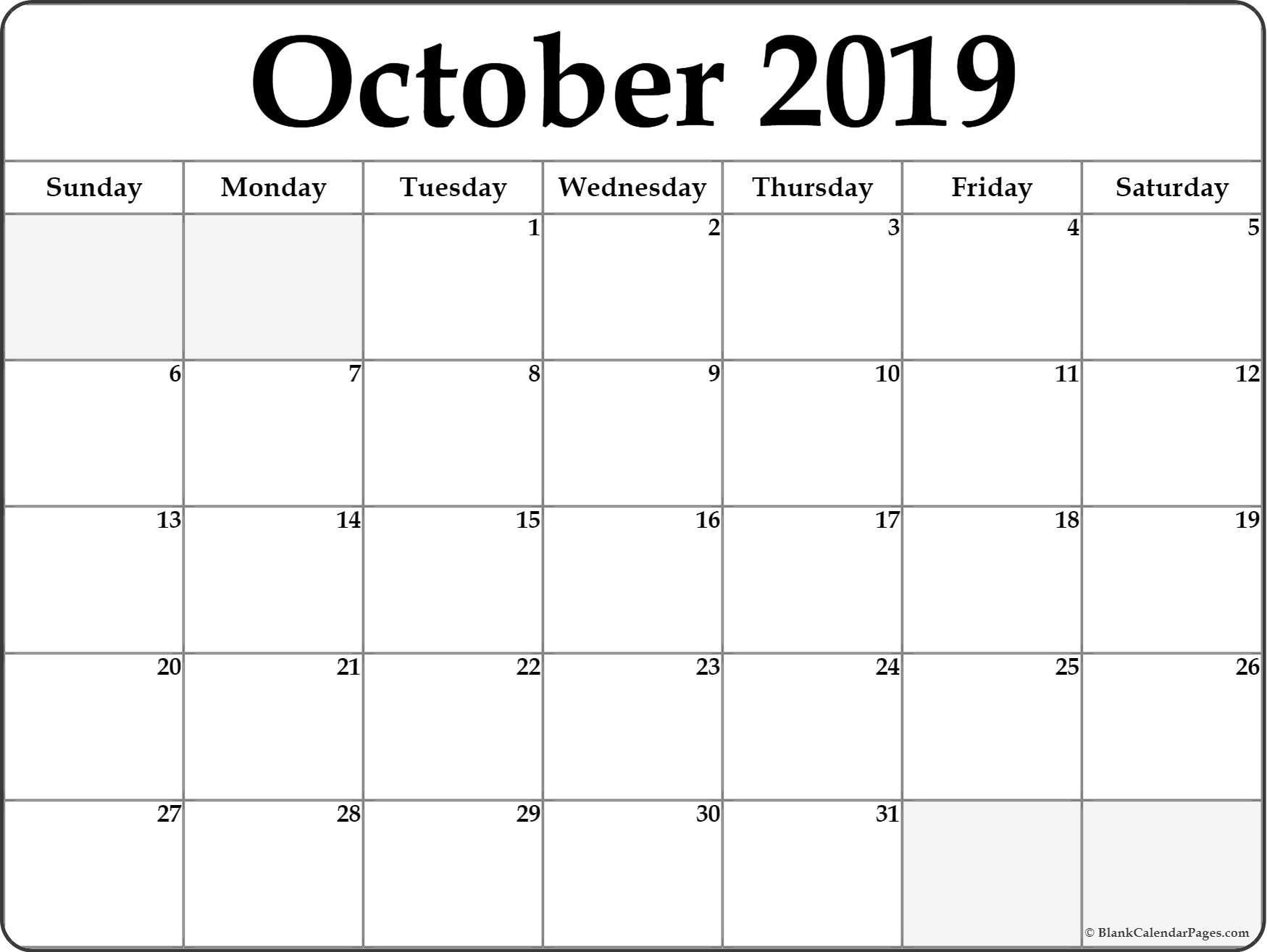 October 2019 Blank Calendar Printable Blank Calendar Calendar
