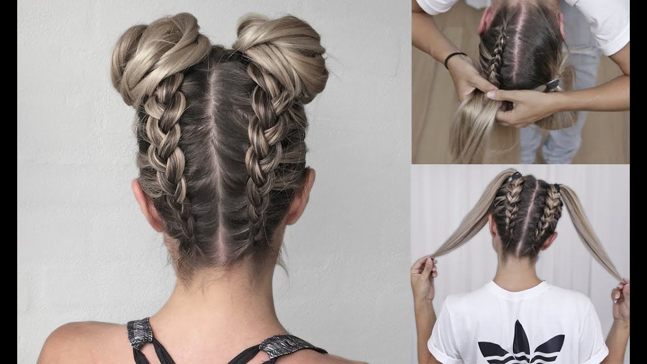 Space Buns Double Bun Upside Down Dutch Braid Into Messy Buns Diy Tutorial Youtube Braided Bun Hairstyles Hair Bun Tutorial Braided Hairstyles Easy