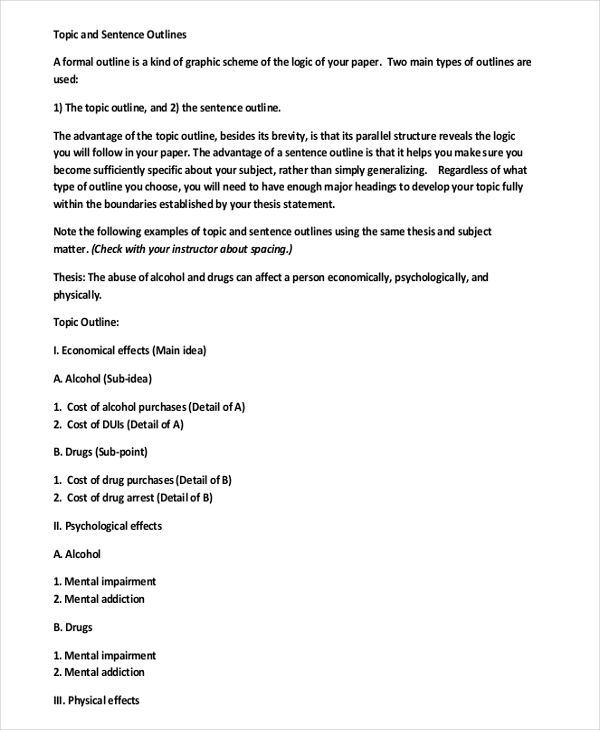 Topic Outline Examples Topic Outline Topic Outline Example Essay Outline Template