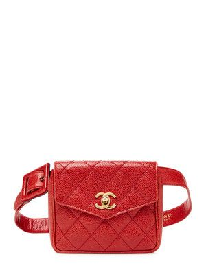 840115297acf Chanel Vintage Red Quilted Caviar Leather Fanny Pack $1800 Vintage on Gilt