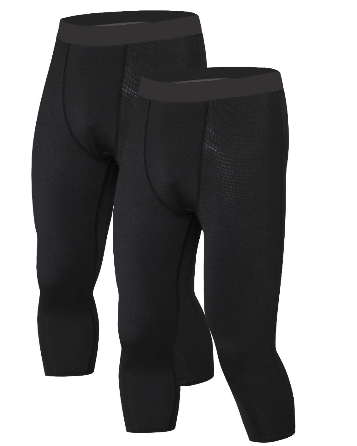 Men/'s Compression 3//4 Pants Base Layers Tights Jogger Sports Fitness Trousers