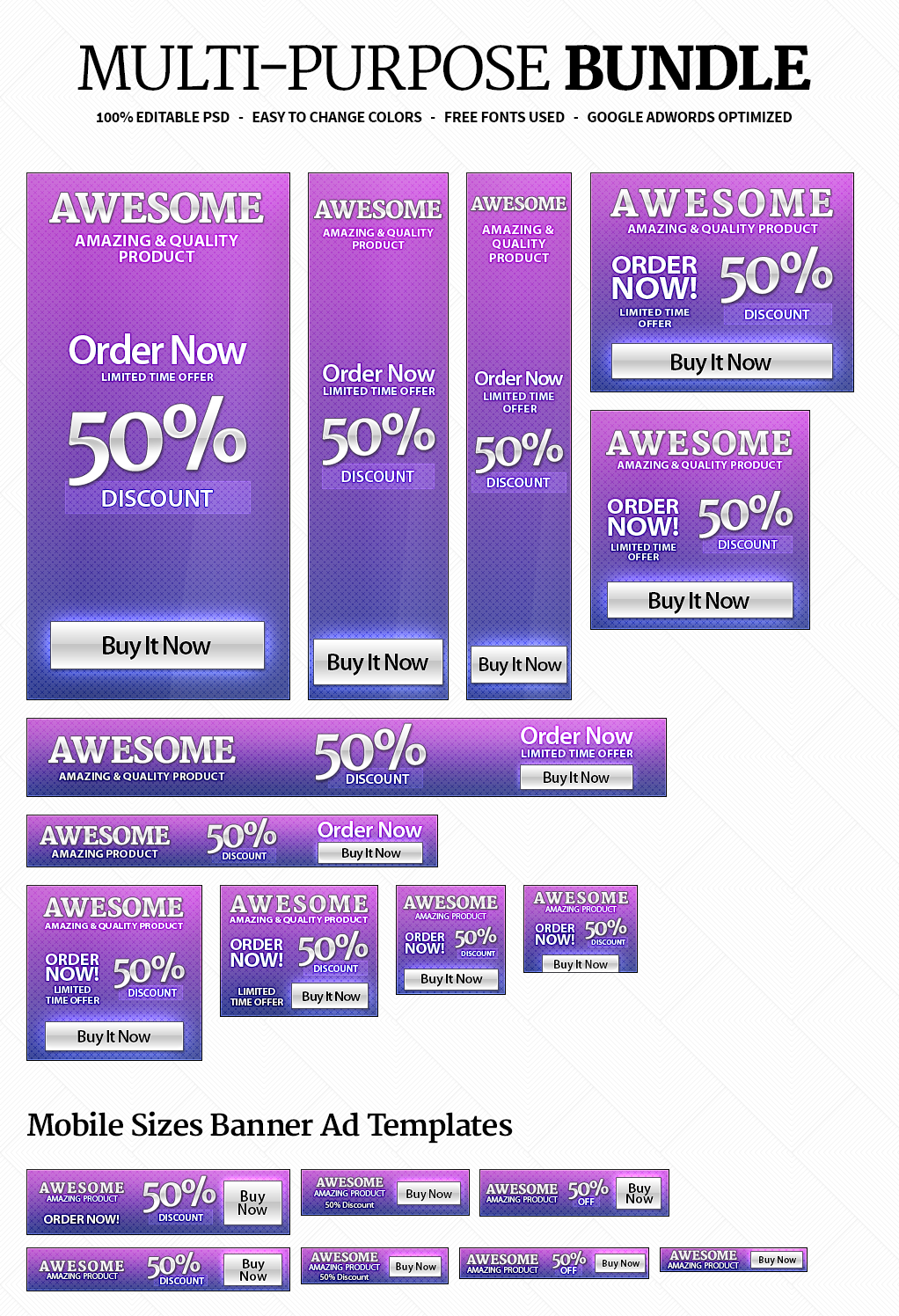 awesome and banner ad templates pack banner sizes awesome and banner ad templates pack 18 banner sizes included for web and mobile