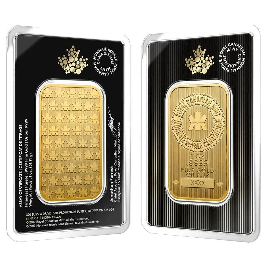 2019 1 Oz Gold Wafer Bar Rcm In Assay Gold Bullion Bars Gold Gold Bullion