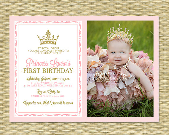Pink and Gold Princess First Birthday Invitation Photo Card