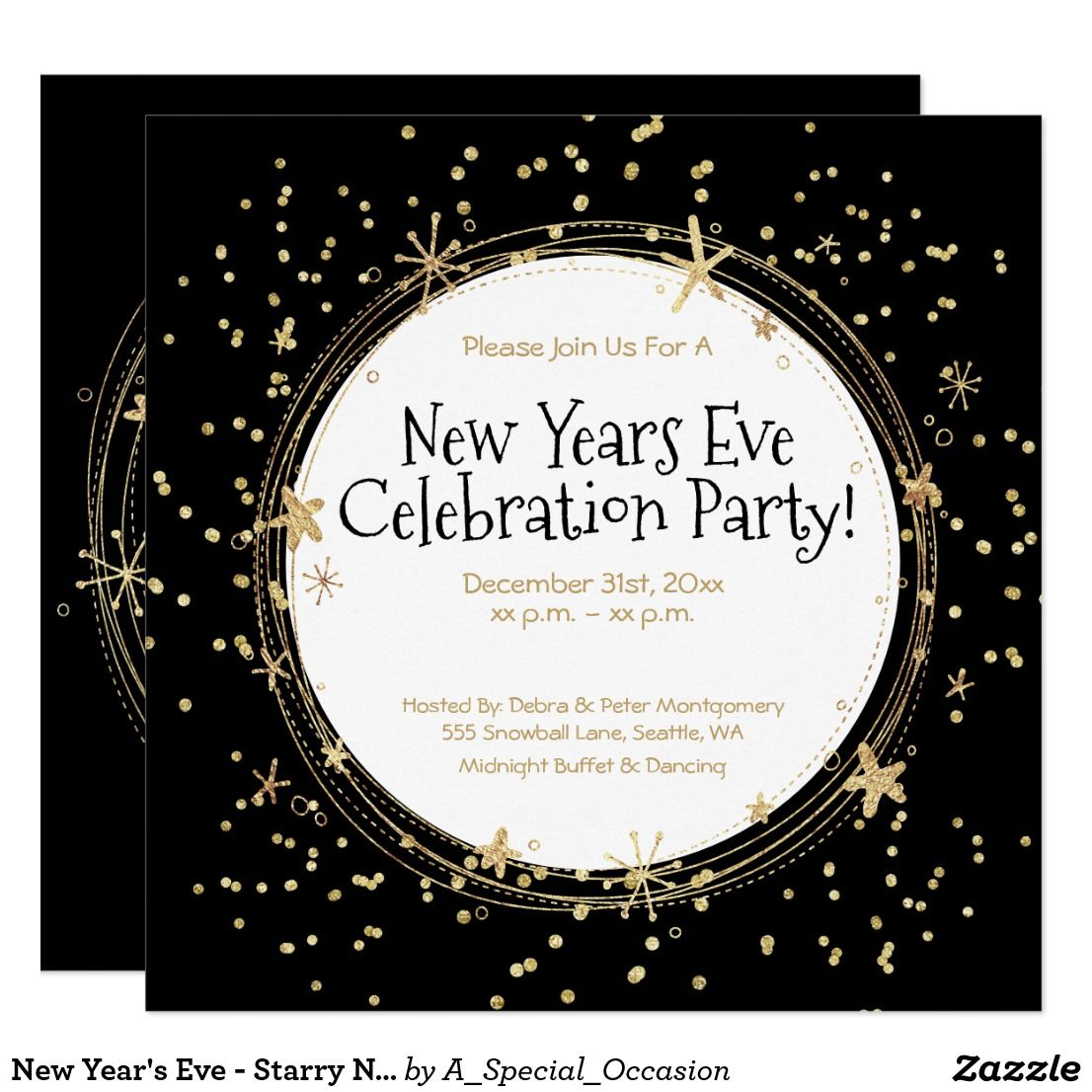 New Year S Eve Starry Night Party Invitation Zazzle Com Party Invitations New Year S Eve Celebrations Party Night