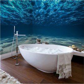 Bathroom Wall Mural with Mermaid