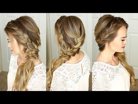 Braided Side Swept Prom Hairstyle Missy Sue Youtube Side Swept Braid Hairstyles Braided Hairstyles Bridesmaid Hair Side