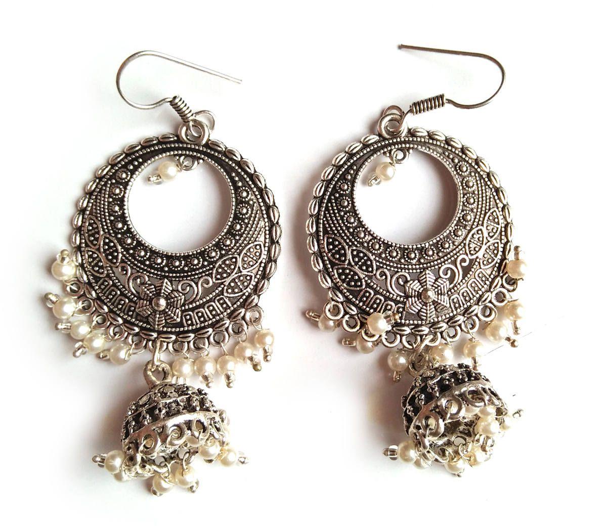 White Gl Beads Jhumka Dangle Earring Indian