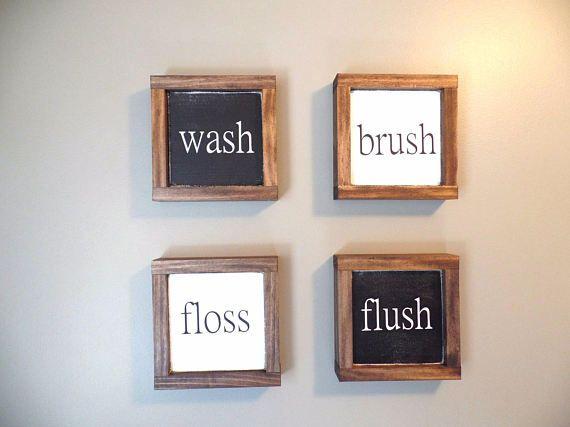Wash Brush Floss Flush Wood Sign Small Framed Wooden Sign Set of 4 ...
