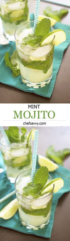 Classic Mint Mojito made with fresh squeezed limes, mint leaves and rum. | chefsavvy.com #cocktail #mint #mojito