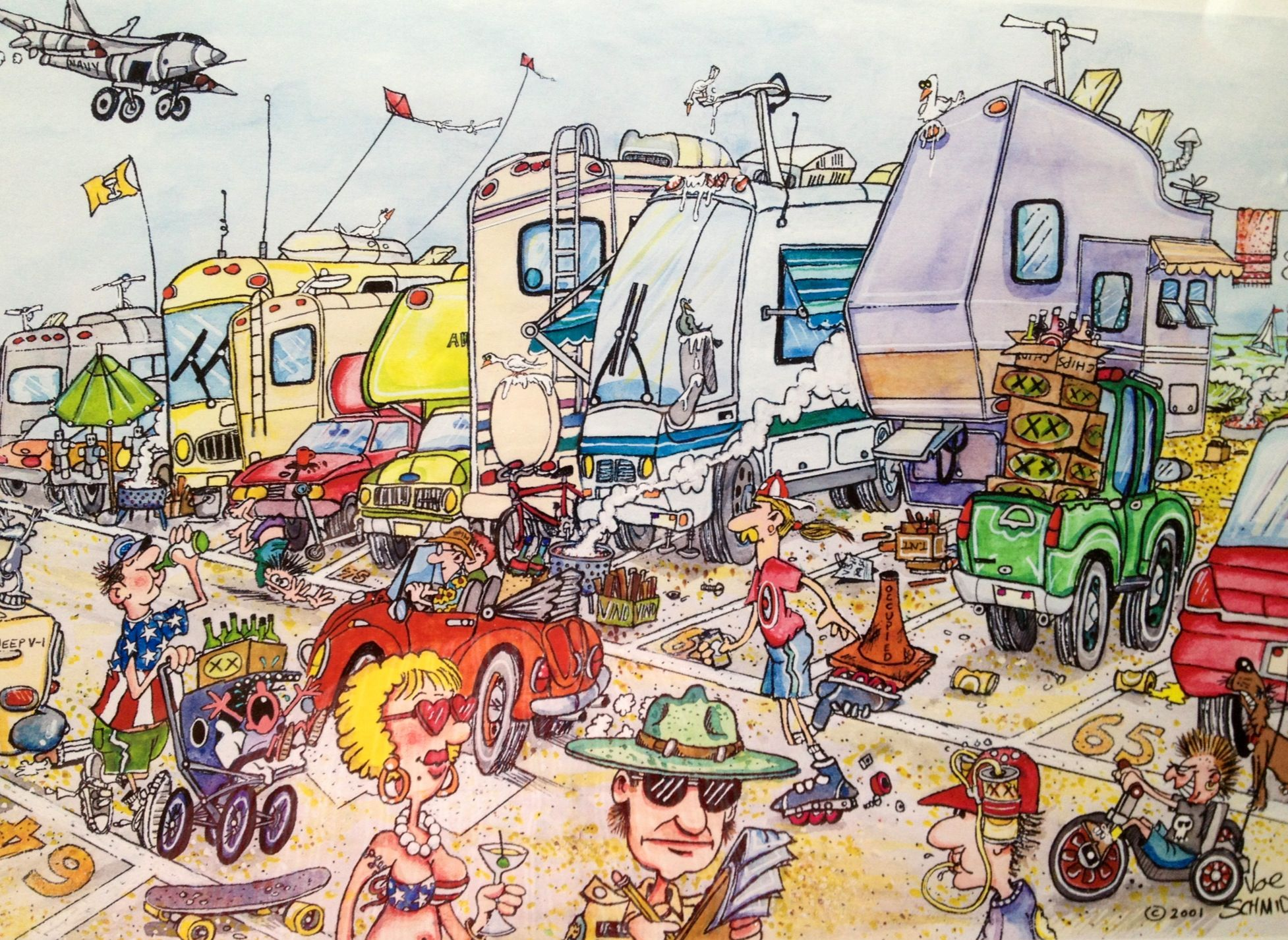 Heebie Jeebie Beach Cartoon Print By Cartoonist Joe Schmidt Creator Of The RV