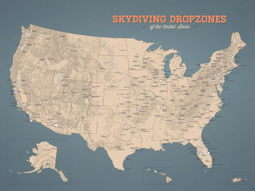 Us Skydiving Dropzones Map 18x24 Poster Us National Parks National Monuments Us National Forests