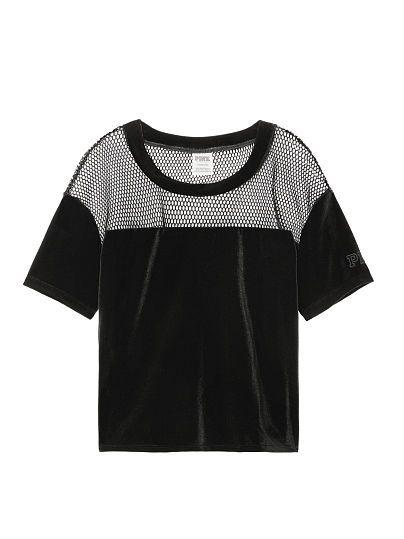 eab2a1518b32e8 Victoria s Secret Pink black velvet crop top with mesh yoke