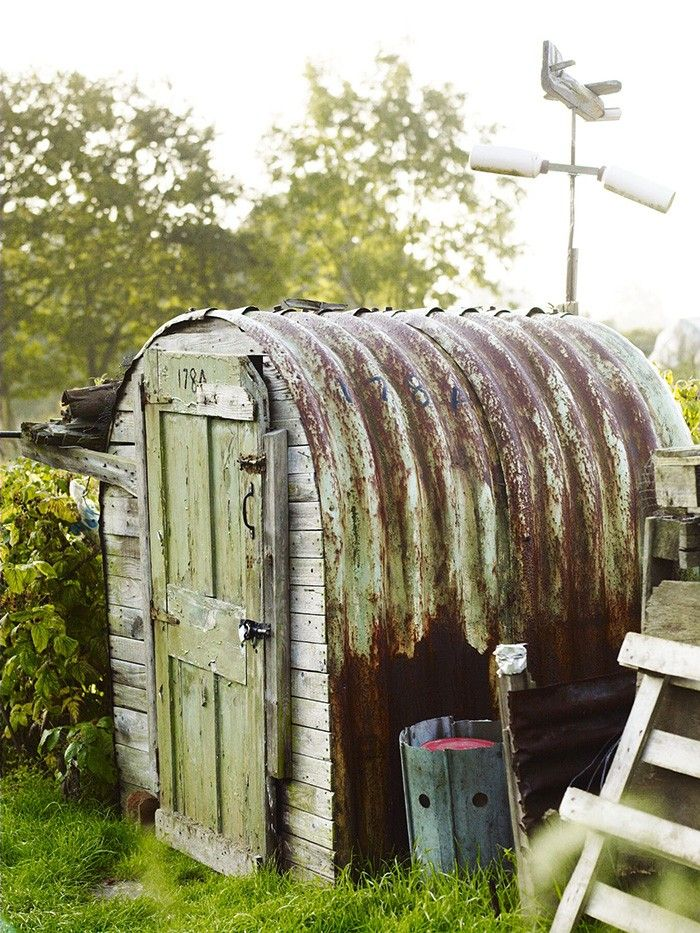 garden shed hand built of recycled materials north london