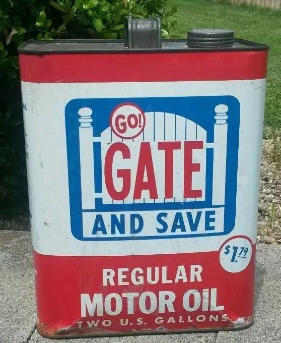 Vtg Go Gate and Save Two Gallon Motor Oil Metal Can Oil and Gad