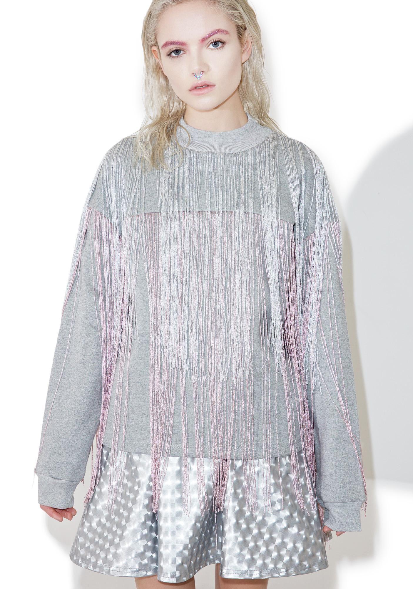 Jaded London Majoris Metallic Fringed Sweater