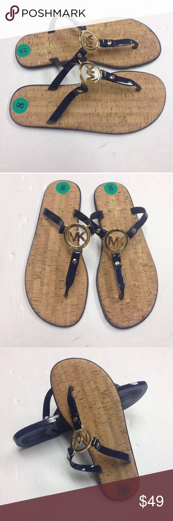 "Michael Kors Jelly Cork Navy Blue Sandals 100 % Authentic New Without Box Michael Kors Jelly Navy Blue Flip Flop Sandals. Women's Size 8. PVC upper. Cork footbed. Rubber outsole. Polished MK signature gold-tone logo charm. Thong post MK Logo stamped ""Michael Kors""   MK Logo surrounded by 3 gold studs   Smoke Free and Pet Free Environment. MICHAEL Michael Kors Shoes Sandals"