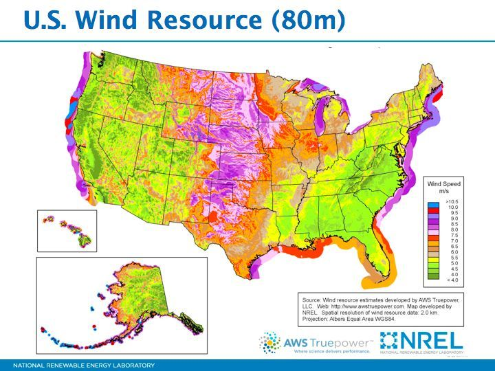 Renewable Energy Resources In The United States Wind Map Wind Energy Energy Resources