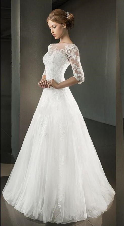 Vintage Mezza maniche lungo Svasato principessa Avorio Tulle Abito da sposa 923462fac8e