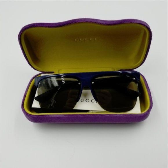 7b99850042dd3 NWT Authentic Gucci Blue Black Sunglasses NWT Authentic Gucci Sunglasses  Model  GG0171S Details  Plastic Frame Plastic Lens Non-Polarized 60mm Lens  Width ...