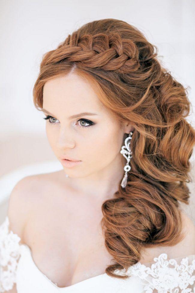 Brautfrisuren seitlich gesteckt locken-flechtfrisur-haarband ...