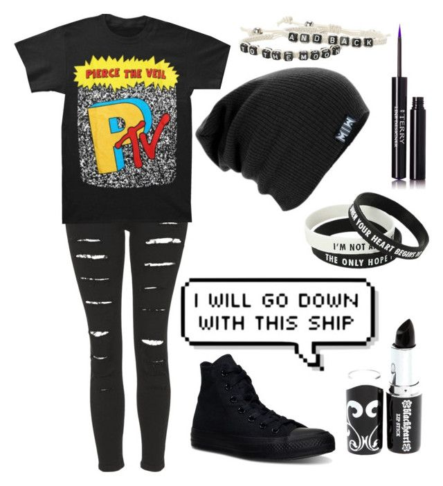 """I will go down with this ship"" by xxghostlygracexx ❤ liked on Polyvore featuring Topshop, Converse and By Terry"