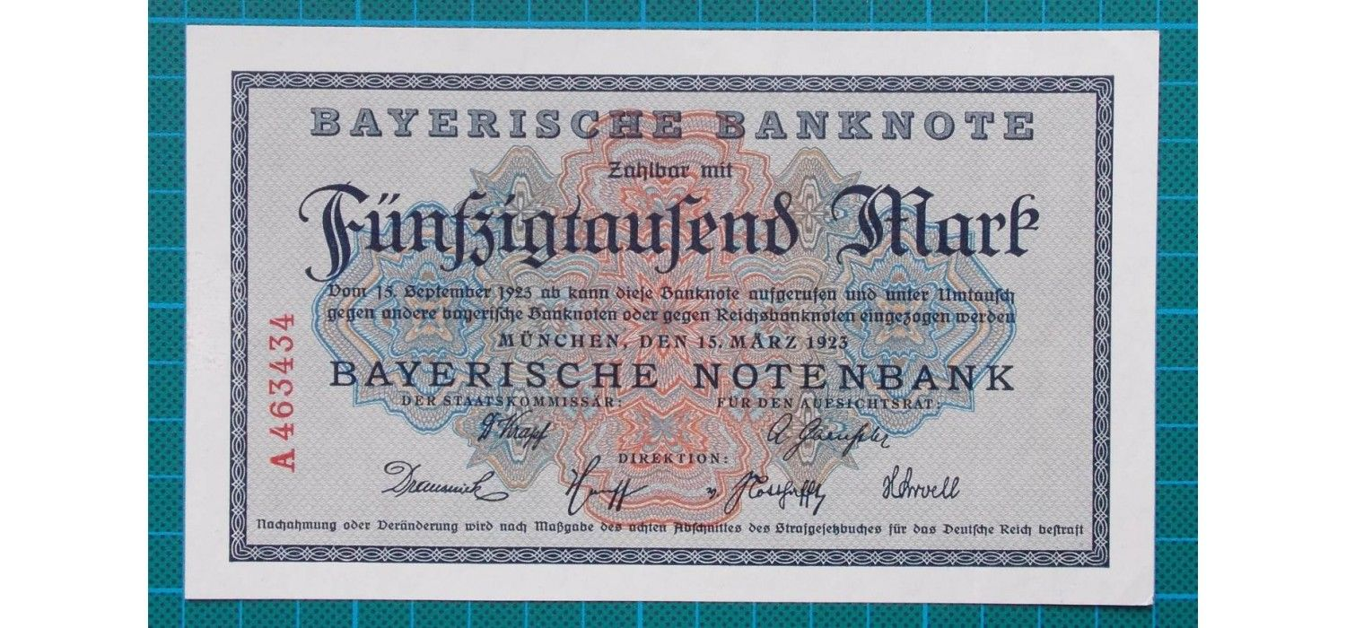1923 Bayerische Banknote 50 000 Mark A463434 Bank Notes Marks Ink Color