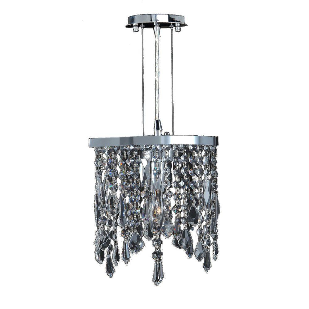 Worldwide Lighting Fiona Collection 1 Light Chrome And Clear
