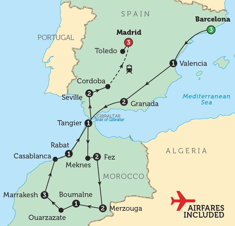 Map Of Spain Gibraltar And Morocco.Ferry From Casablanca Morocco To Spain Spain Morocco Bunnik