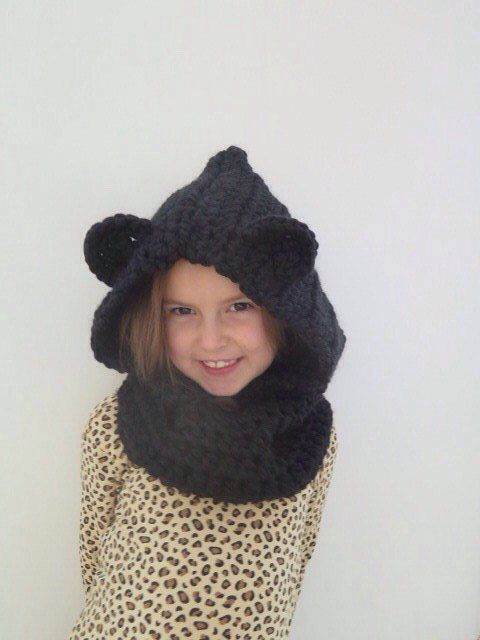 Bear Cowl | Chunky Crocheted Bear Cowl | Hooded Cowl | Hooded Scarf ...