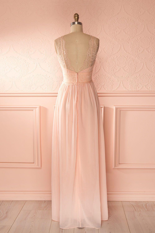 robe longue voile rose p le buste d collet plongeant dentelle light pink maxi veil dress lace. Black Bedroom Furniture Sets. Home Design Ideas
