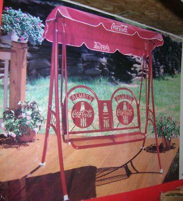 Coca Cola Swing Glider Outdoor Patio Swing Set Canopy