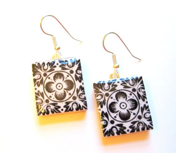 Black and White Upcycled Scrabble Tile Earrings by KimberlieKohler, $20.00