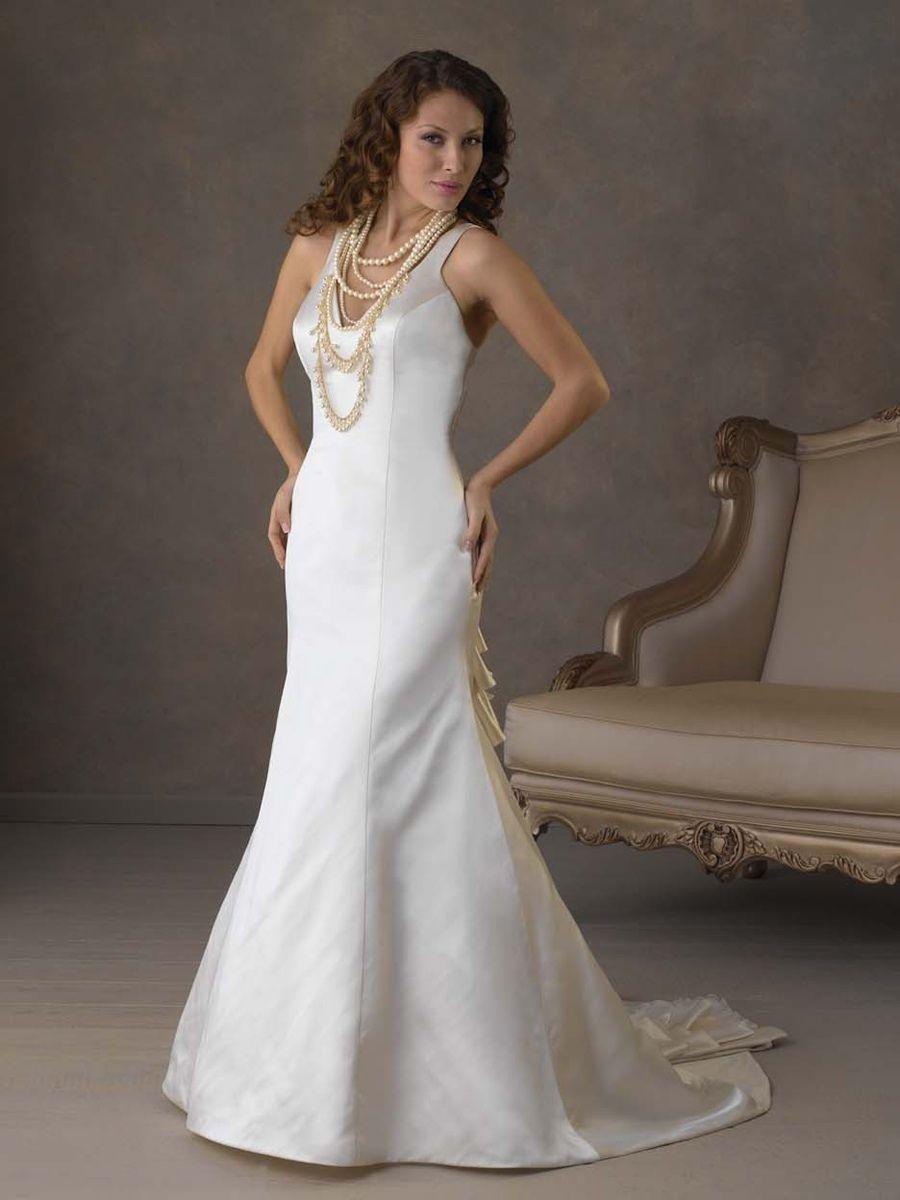 23+ V neck a line satin wedding dress information