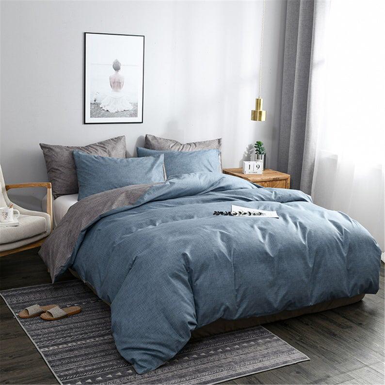 Gray Blue Autumn Winter 3 Piece Comforter Cover Set Duvet Etsy Blue Comforter Sets Blue Comforter Duvet Covers