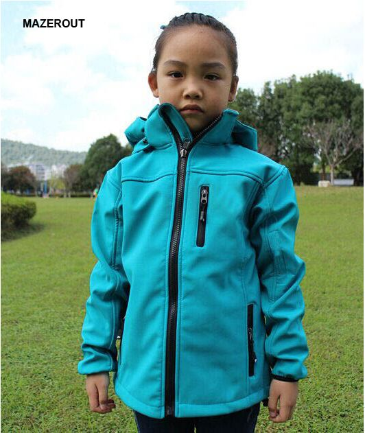 d26bcb0032 MAZEROUT Winter Children Outdoor Softshell Jacket Kid Fleece Sportwear Child  Camping Waterproof Ski Hiking Jacket 110-150cm J10