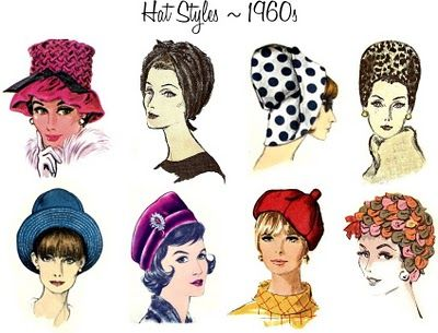 """The expanding bouffant and beehive hair styles of the early 1960s were adorned for formal occasions with pillboxes (a la Jackie Kennedy) and """"whimsies"""" - confections of veiling, often accented with bows or little flowers, that perched on the back of the head. The turban also    The late 60s brought mod fashions - slouchy """"Bakerboy"""" caps and floppy-brimmed sunhats. The bob hairstyles popularised by Mary Quant also sparked a revival of the 1920s cloche."""